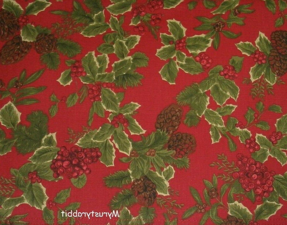 Ralph Birchmont Red Fabric Holly Berries 100%