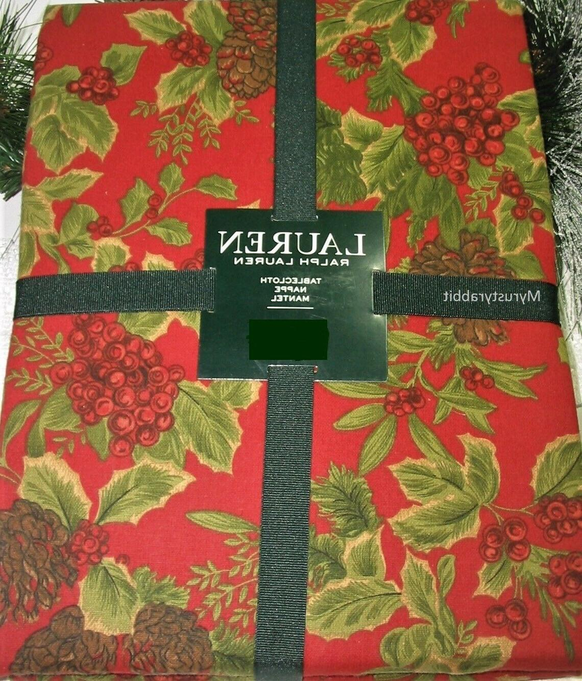 birchmont red fabric tablecloth 60x84 holly berries