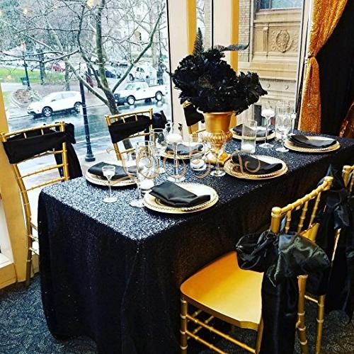 B-COOL Black Sequin Tablecloth 90inchX156inch Sparkly Sequin