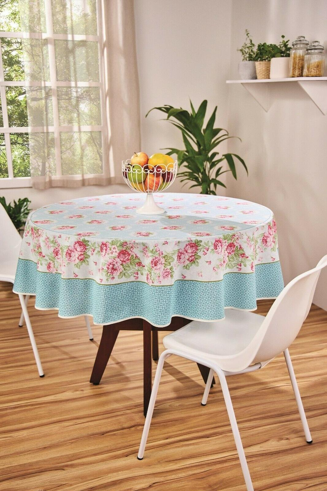 blue tablecloth with pink roses printed floral