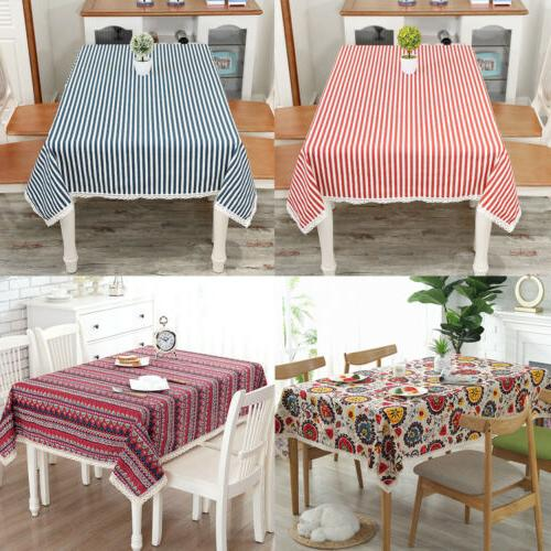 Rectangle Bohemian Printed Tablecloth Linen Lace Kitchen Din