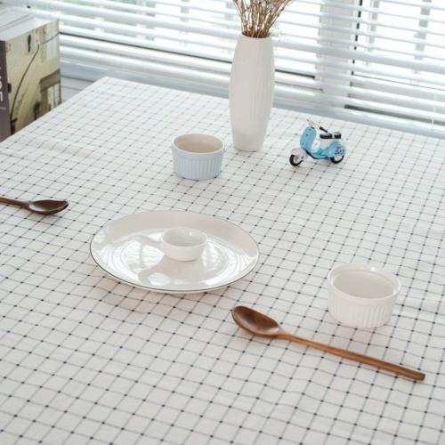 ColorBird Checkered Tassel Tablecloth Cotton Cover for
