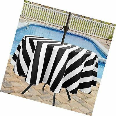 classic stripes round zippered outdoor tablecloth