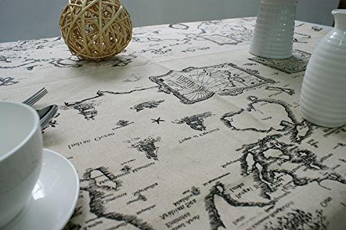 Generic World Map Pattern Table Cloth Hemmed