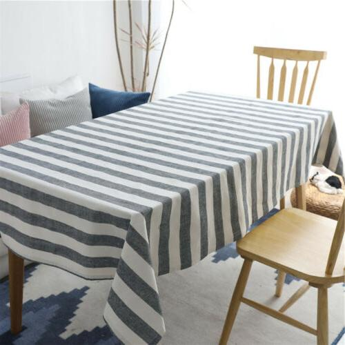 cotton linen gray striped tablecloth dining table