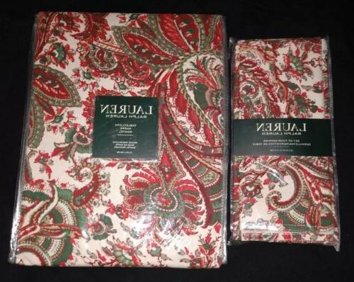 cotton tablecloth holiday patmosan paisley holly red