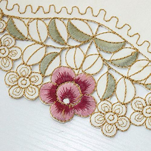 Damask Camellia Embroidered Cream Floral 60 x 86