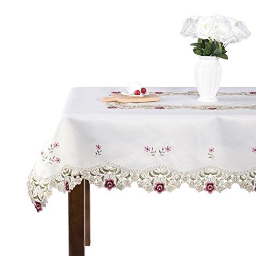Damask Rose Camellia Embroidered Cream Floral Tablecloth Rec