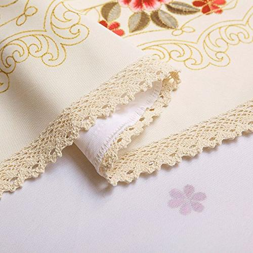 Decorative Lace Water Resistant Tablecloth Wrinkle Resistant Tablecloths for Kitchen 60 by