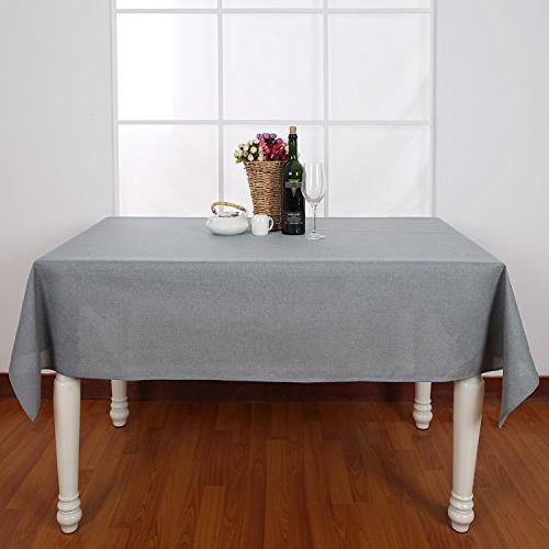Deconovo Spillproof Oblong Look Grey Tablecloth 54x72 Inch