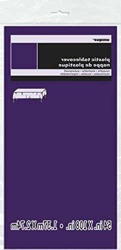 Deep Purple Plastic Table Cover, 54 by 108-Inch