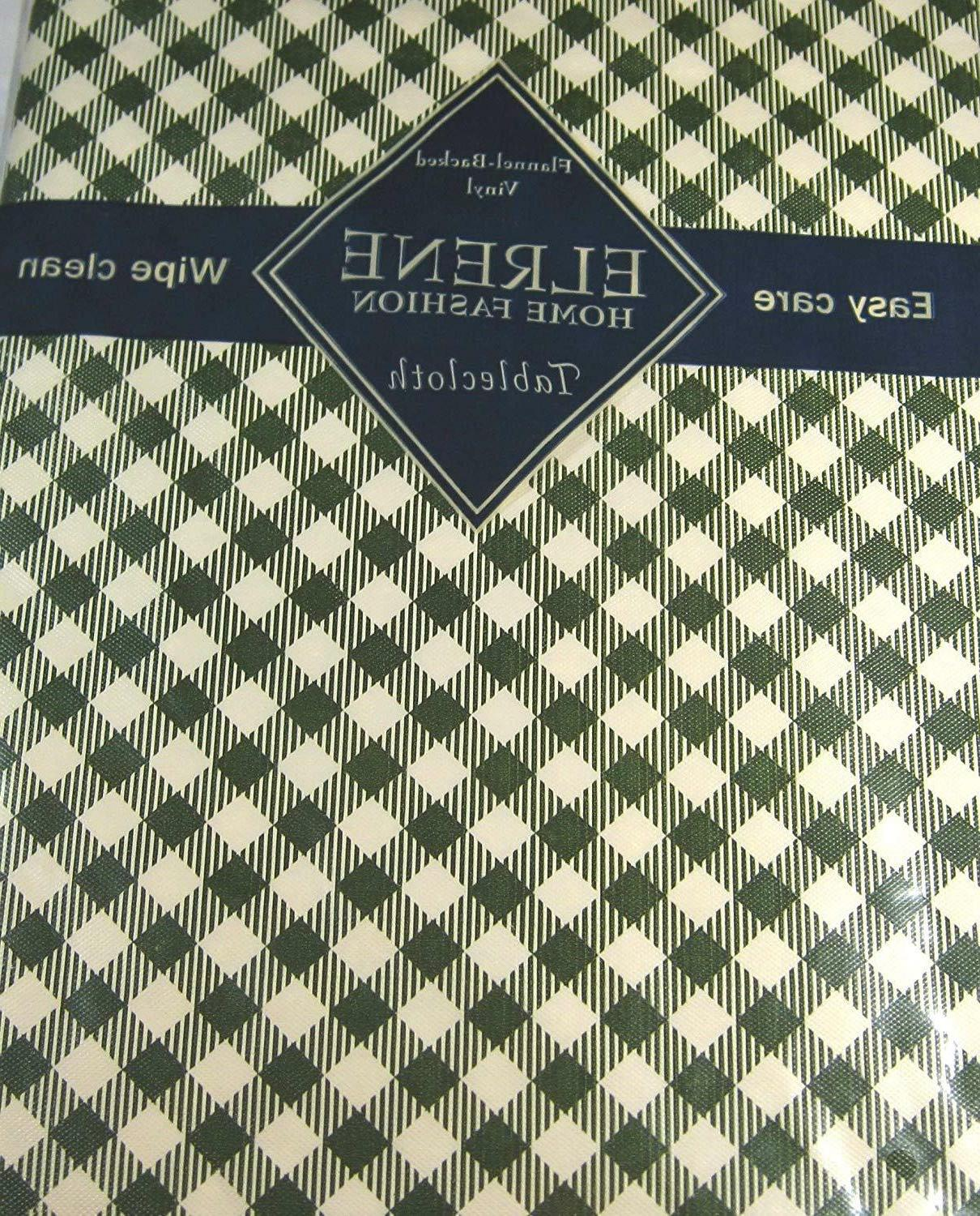 diamond checks vinyl flannel back dark green