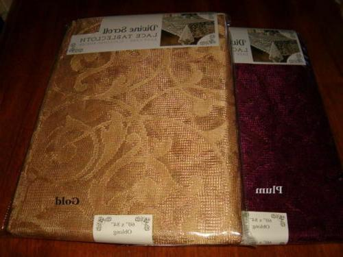 divine scroll scalloped border lace tablecloth gold