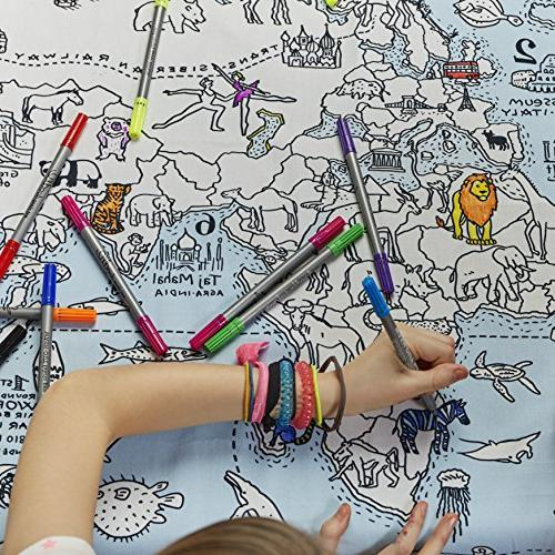 eatsleepdoodle World Map Tablecloth, Own Tablecloth, Tablecloth with Washable Markers