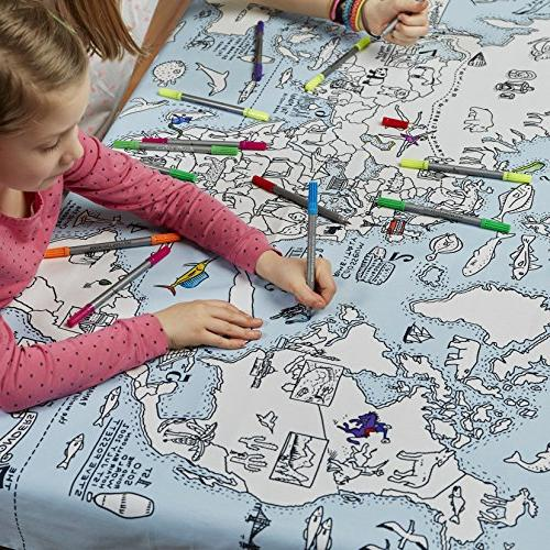 eatsleepdoodle Map Tablecloth, Tablecloth, Coloring Washable Fabric Markers