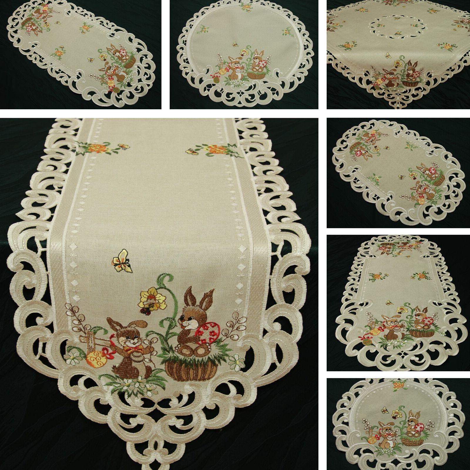 easter table runner doily tablecloth linen look