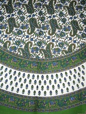 Floral Paisley Elephants Round Cotton Tablecloth 72 Green