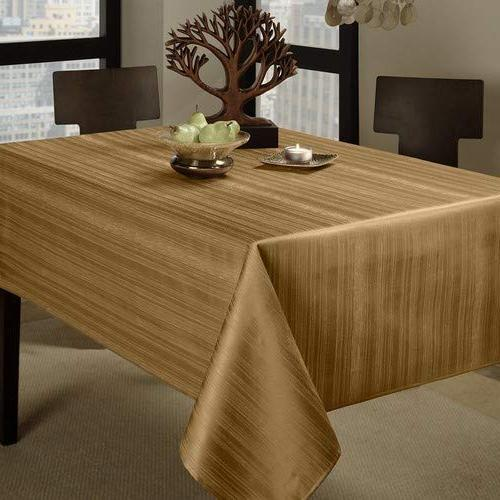 Benson 60-Inch by Tablecloth, Taupe/Gold