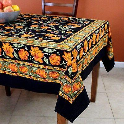 french floral print cotton tablecloth for square