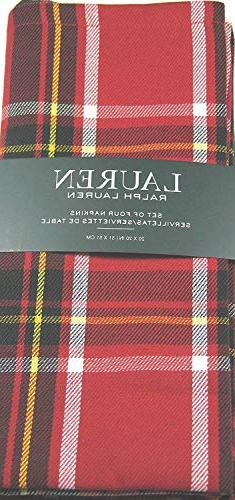 "Ralph Lauren Gretchen Tartan Plaid Napkins Red 20"" x 20"" 4 P"
