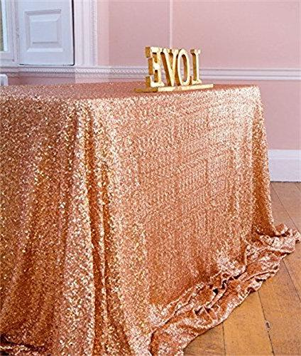 rose gold sequin fabric tablecloth