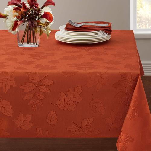 harvest legacy damask tablecloth rust 60 x