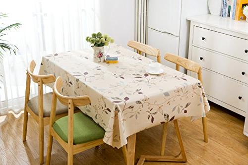 LEEVAN Weight Vinyl Square Table Cover Clean Stain-Resistant/Mildew-Proof 54