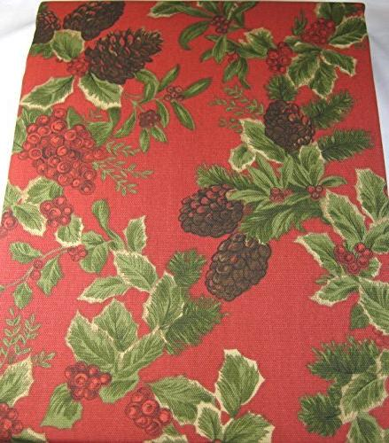 holiday birchmont tablecloth holly berries