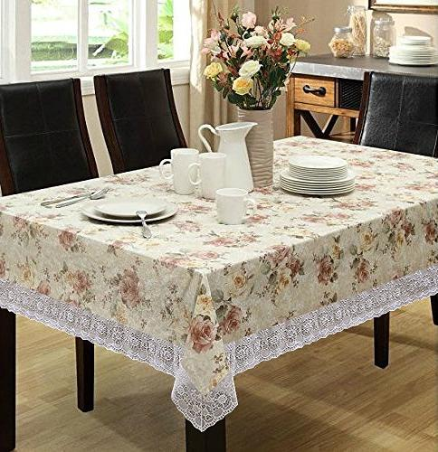 Eforcurtain Table Waterproof Spring Floral Tablecloth PVC, Beige, 54-inch Round Tablecloth