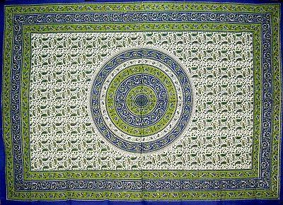 Jaipur Paisley Cotton tablecloth 88 x 60 Blue and Green