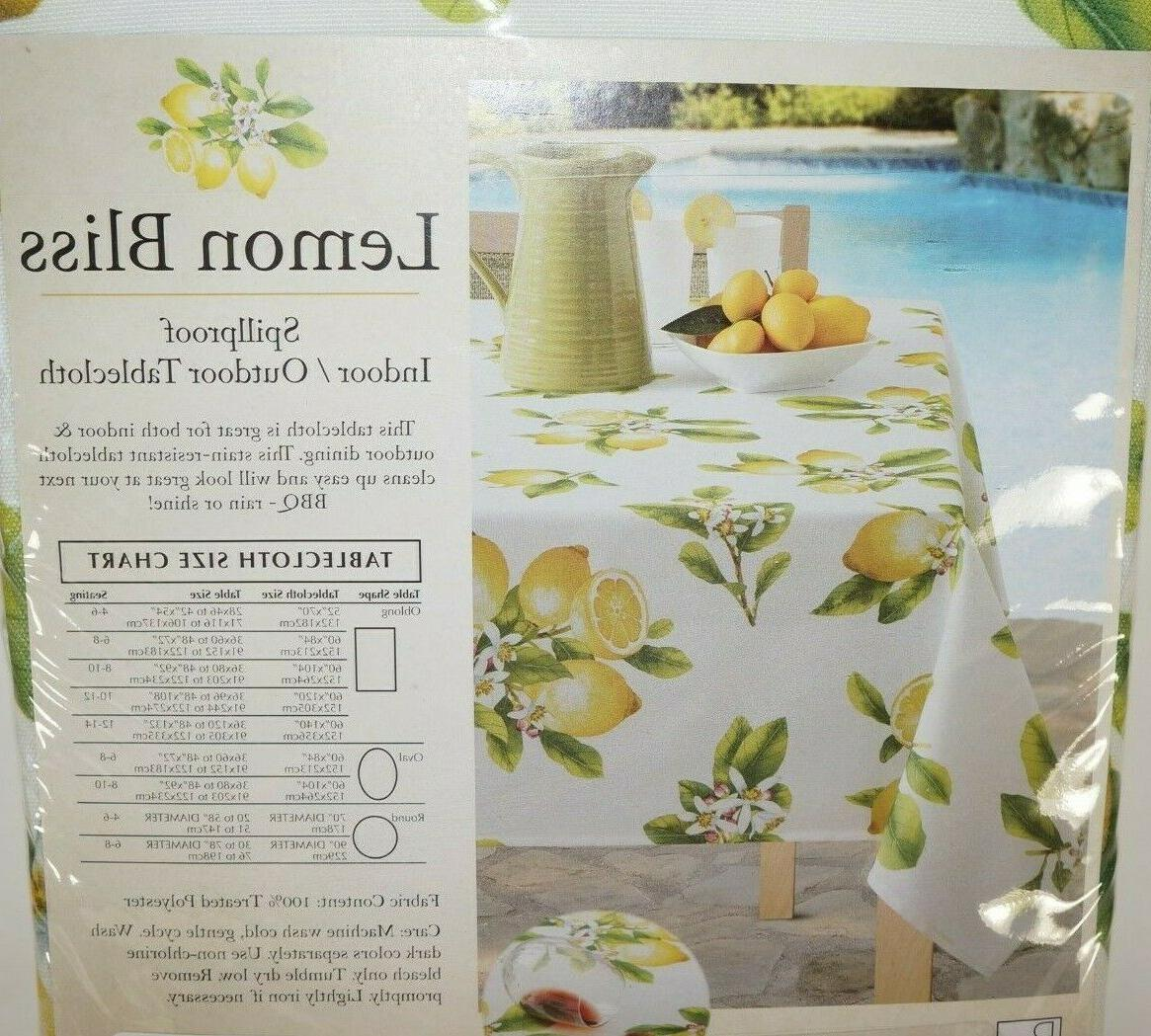 Benson Mills BLISS Indoor/Outdoor Spillproof Tablecloth sizes NEW