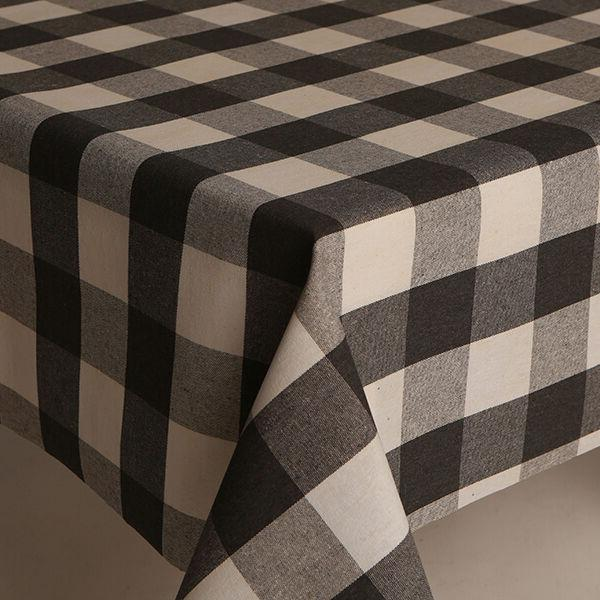 LINEN LOOK LARGE GREY CHARCOAL CHECK COTTON PVC OIL COATED T