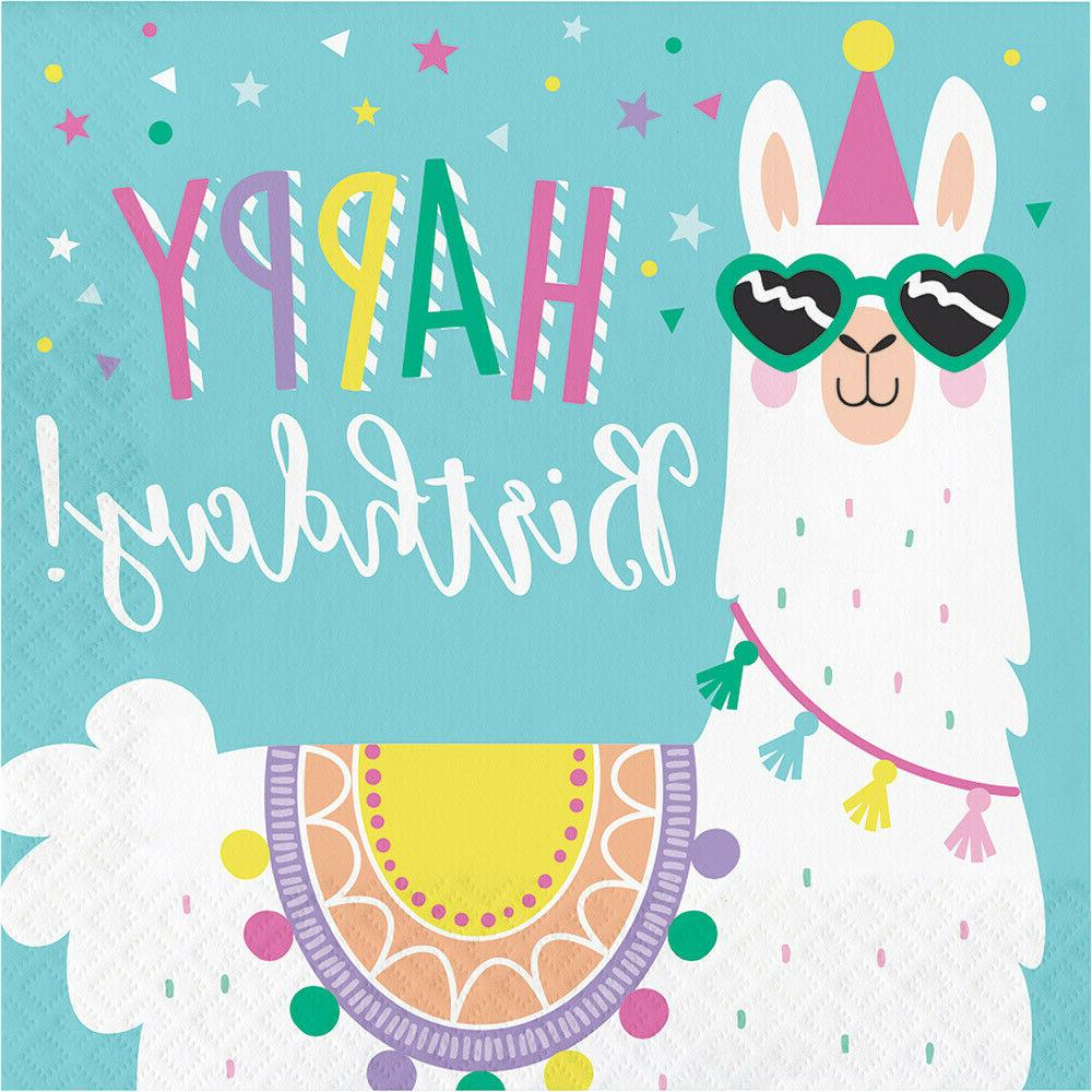 Llama Party Supplies, Plates and Napkins for 16 Tablecloth Decorations