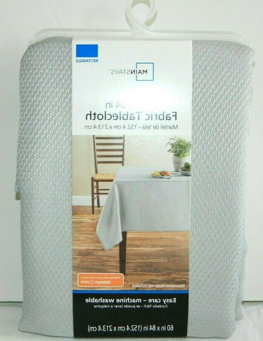 mainstay fabric tablecloth soft silver rectangle 60