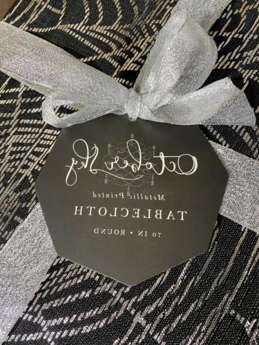 OCTOBER SKY NEW!!! SPIDER Silver Round Tablecloth