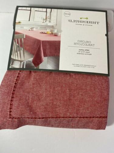 new tablecloth chambray hemstitch soft red 60