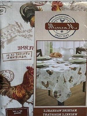 Oblong ROOSTER Tablecloth WRINKLE Resistant