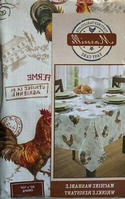 Benson Oblong TEXTURED ROOSTER Tablecloth WRINKLE