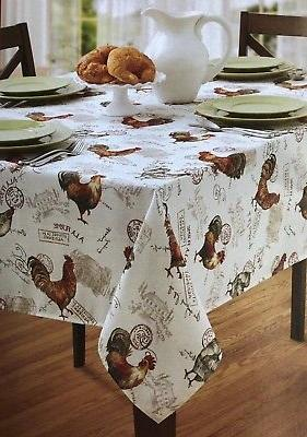 oblong rooster tablecloth machine wash