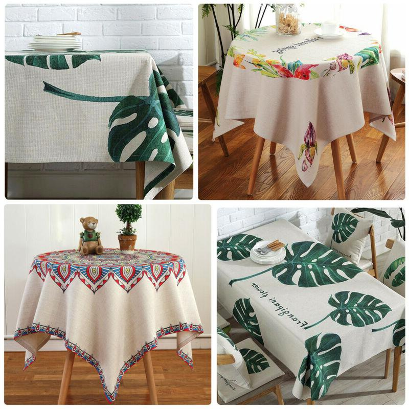 pastoral style cotton linen table cloth cover