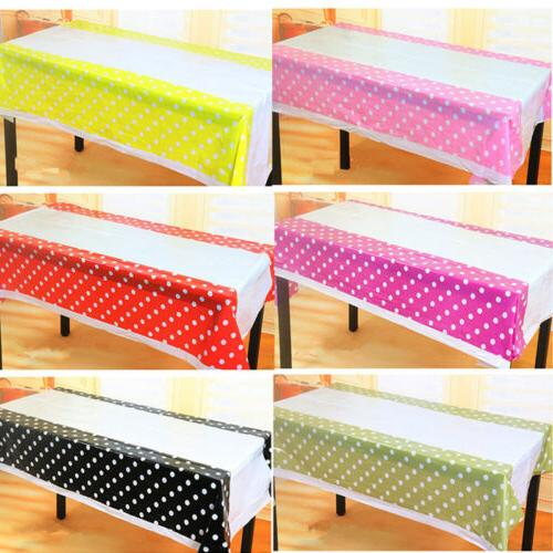 polka dot plastic table cover cloth disposable