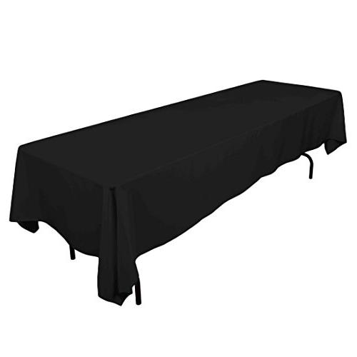 "Gee Di Moda Rectangle Tablecloth - 60 x 126"" Inch - Black Re"