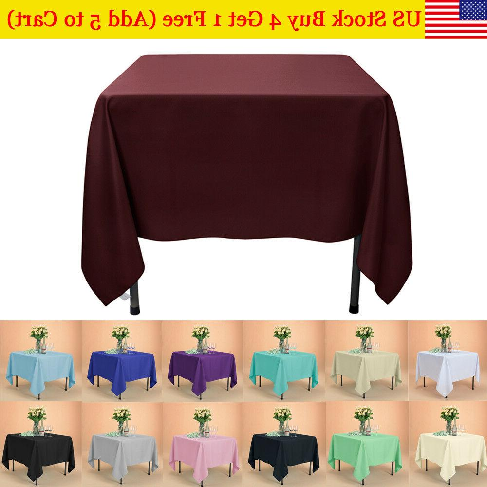 "72x72"" Square SATIN Table Overlays Wedding Party Linens for"