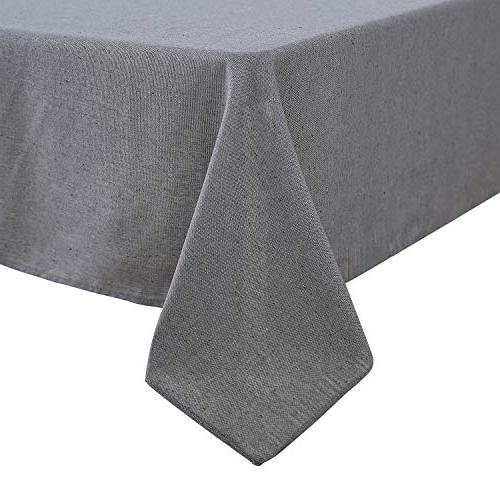 Deconovo Recycle Rectangle Tablecloth Stain Waterproof Tablecloths Home Tablecloths Kitchen x 84L Inch Gray and White