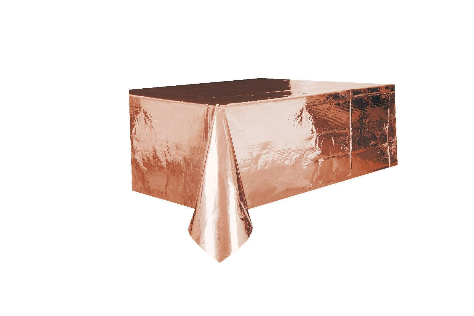 rose gold foil tablecover plastic tablecloth wedding