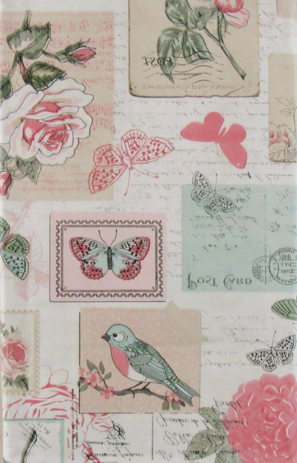 roses birds butterflies vinyl flannel backed tablecloth