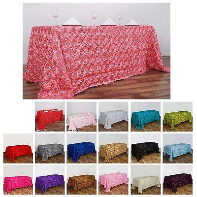 rosette rose pattern rectangle tablecloth 90x156