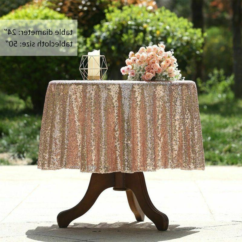 Round Sequin Gold Silver Cloth Cover Wedding Event Party