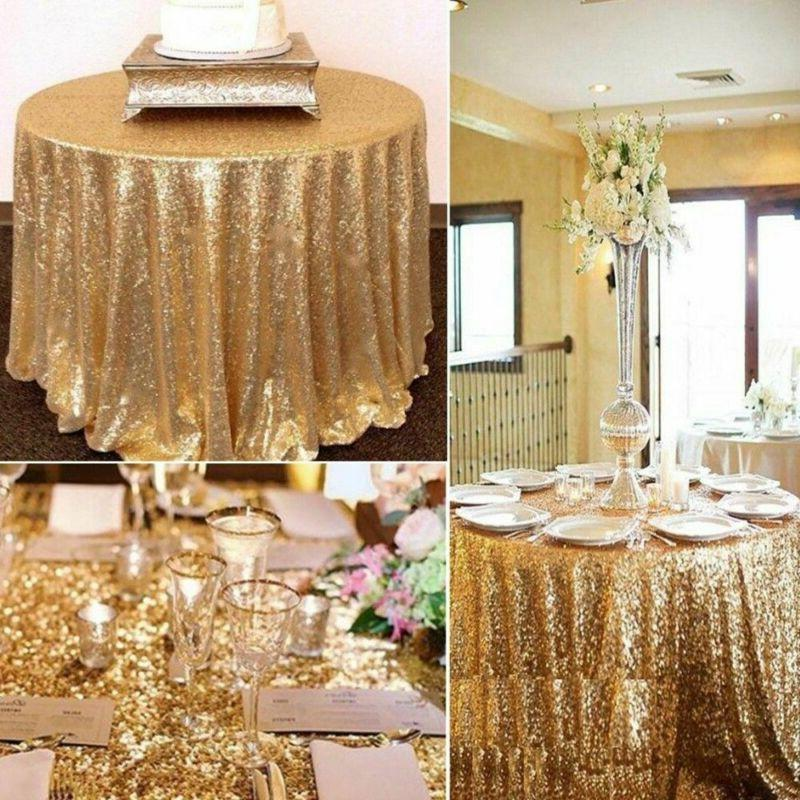 Round Tablecloths Gold Cover Party