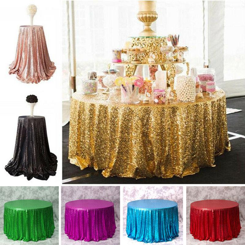 round sequin tablecloths rose gold silver table